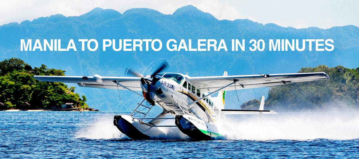 get to puerto galera by seaplane juan air